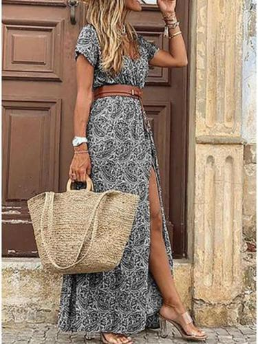 V Neck Navy Blue Women Dresses Tribal Dresses