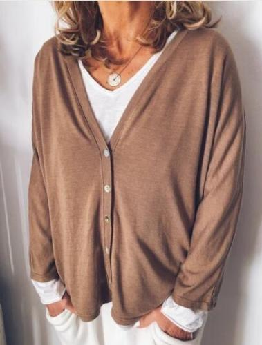 Plus Size Solid Casual Long Sleeve  V Neck Outerwear