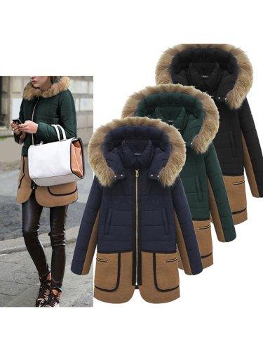 Color-block Zipper Pockets Hoodie Coat