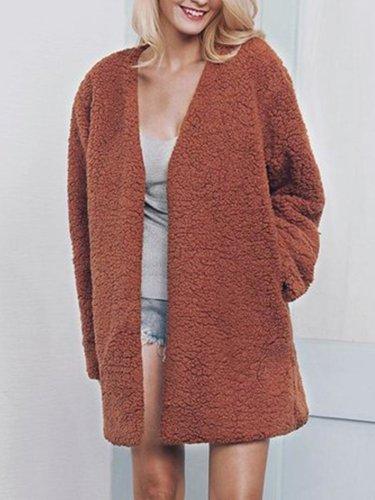 Plus Size Faux Fur Elegant Long Sleeve Pockets Coat