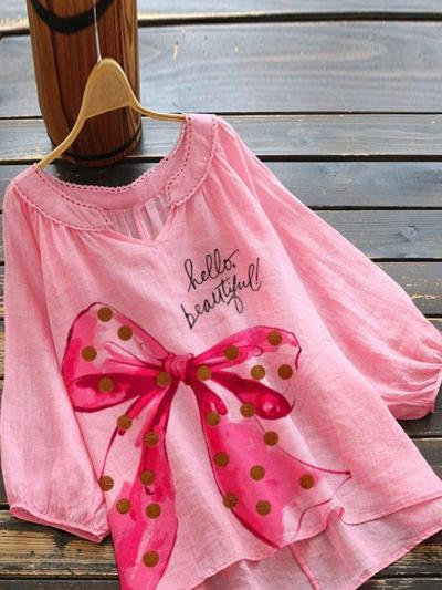 Pink Short Sleeve Linen Shirts & Tops