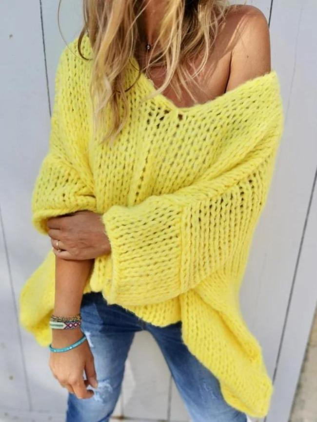 Plus Size Casual Solid Knitted V Neck Long Sleeve Sweater