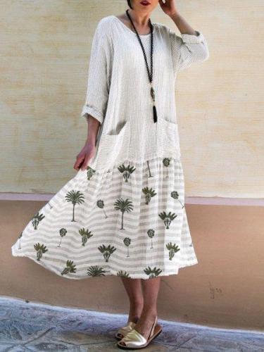 3/4 Sleeve Cotton Sweet Crew Neck Dresses