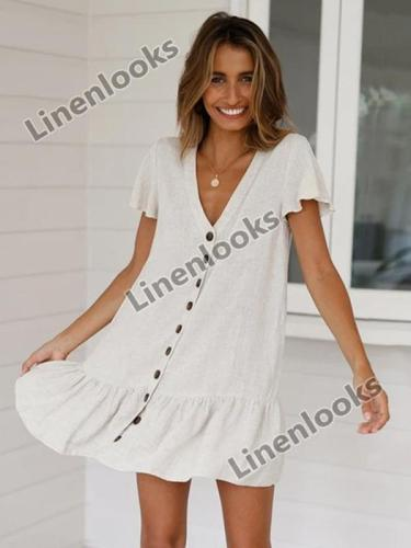 2020 Vintage Button Women V neck Short Sleeve Cotton Linen Summer Dresses