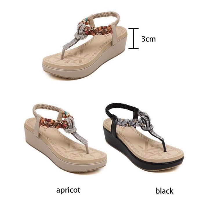 Casual Elastic Band Wedge Heel PU Sandals