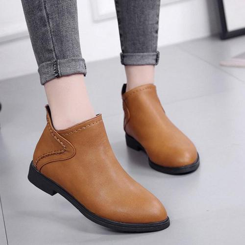 Women Artificial Leather Booties Casual Comfort Zipper Shoes