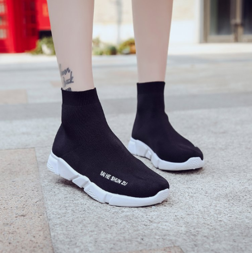 Black Socks Shoes Spring/Fall Athletic Flat Heel Elastic Cloth Shoes