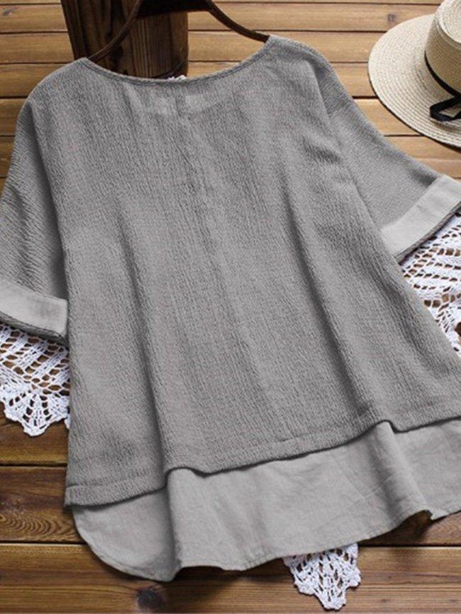 Linen Short Sleeve Shirts & Tops