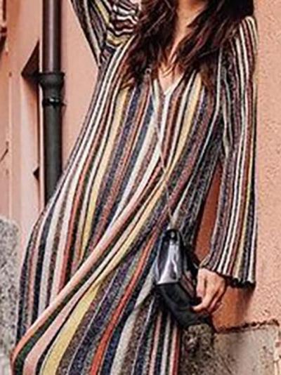 Striped Shift Basic Fall Dress