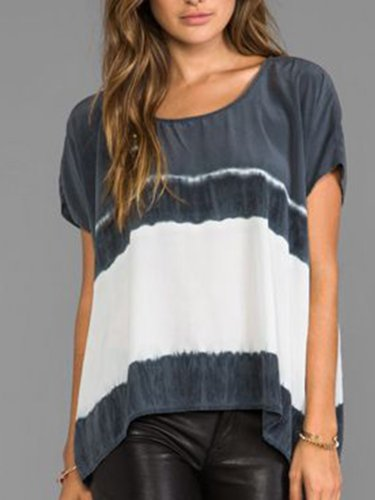 Gray Color-Block Short Sleeve Shirts & Tops