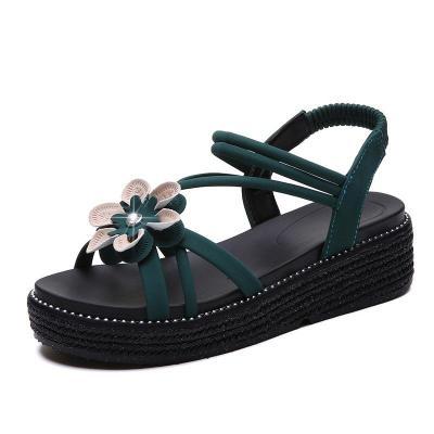 Women Rome Sandals Sweet Flower Platform Sandals Summer Soft Flats Sandals