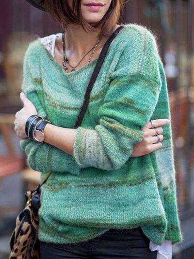 Striped Crew Neck Casual Long Sleeve Sweaters
