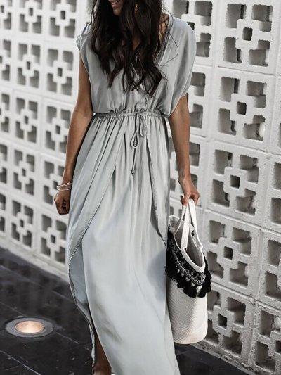 Gray Basic V Neck Beach Dress