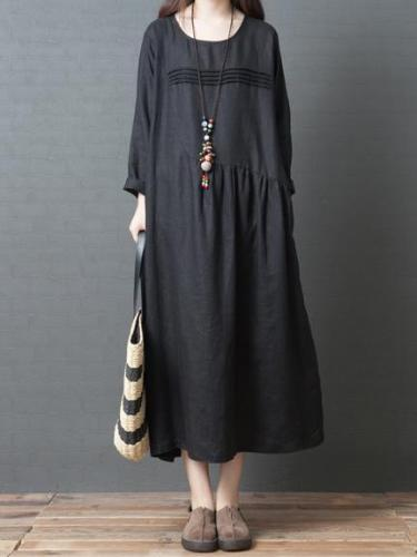 Long Sleeve Women Casual Crew Neck Loose Solid Cotton Long Dress