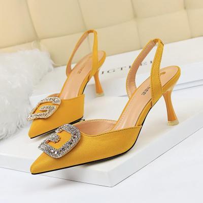 Woman Pumps Crystal Slingbacks Hinestone Pointed Toe High Heels Ladies Party Wedding Shoes