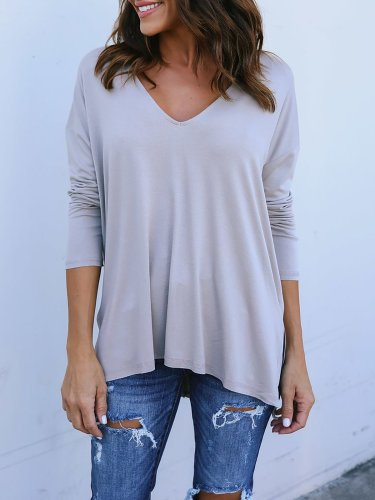 Long Sleeve Cotton Casual V neck T-Shirt