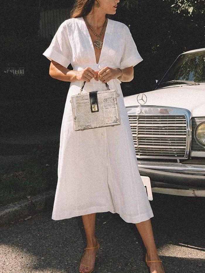 Cotton Vintage Casual Plus Size Dress