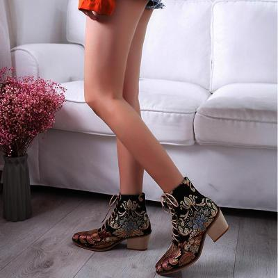 Vintage Embroidered High Heel Thick with pointed toe ankle boots