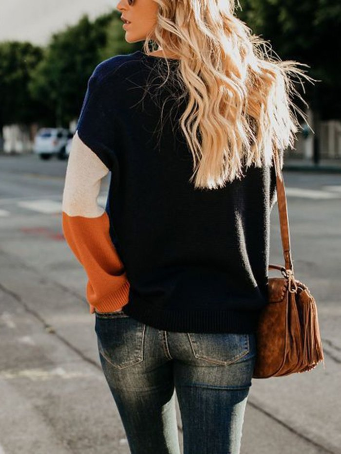 Patchwork Round Neck Casual Sweater