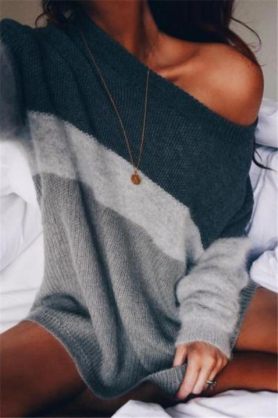 Shoulder Knitting Stripes Loose Lazy Couture Sweaters