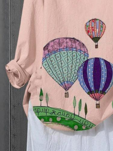 Pink Cotton-Blend Casual Shirts & Tops