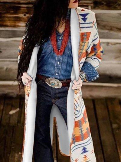 Tribal Printed Shawl Collar Cardigan