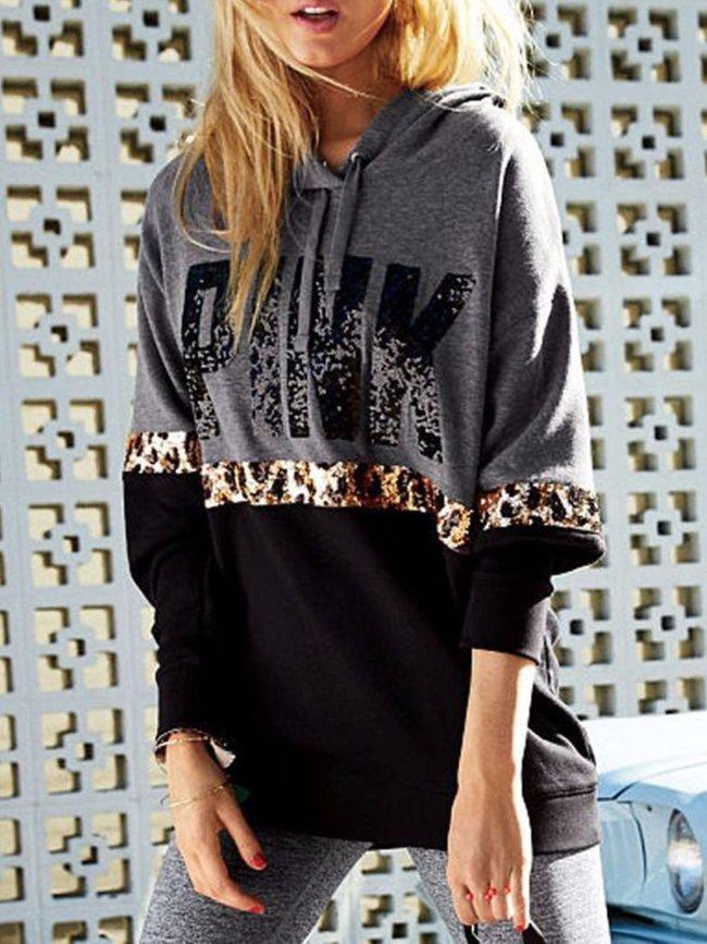 Black Casual Cotton-Blend Leopard Print Hoodies