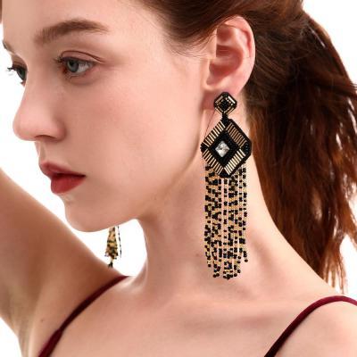 Handmade Beaded Tassel Earrings Square Earrings Crystal Diamond Earrings Female