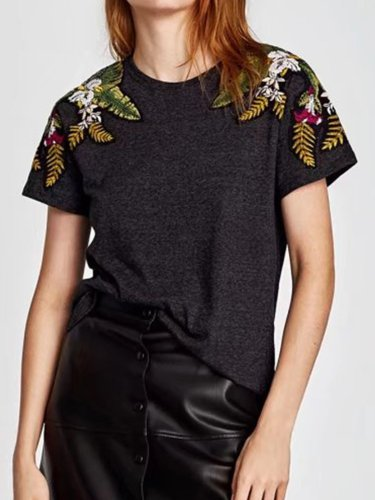 Women Embroidered Tops Tunic T Shirt