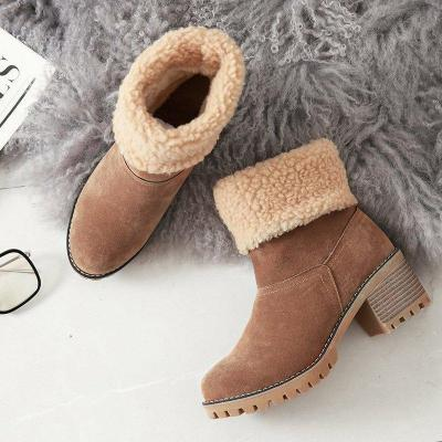 Women chunky heel casual snow boots