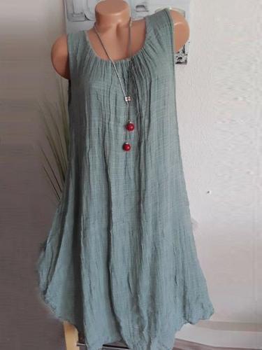 Crew Neck Casual Cotton-Blend Dresses