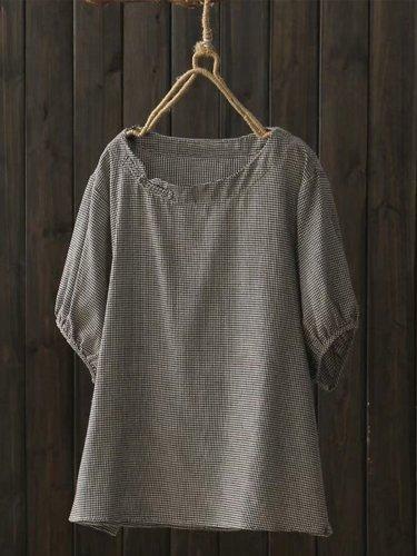 Women Casual Plus Size Tops Tunic Plaid Blouse Shirt