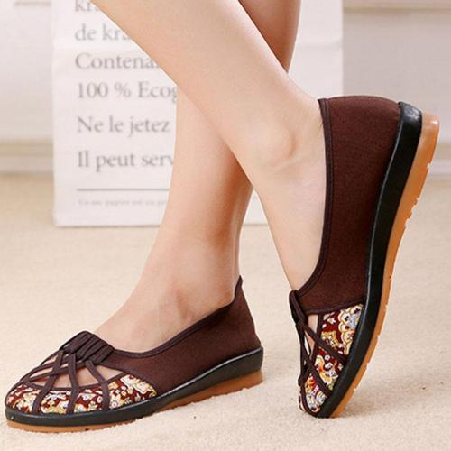 Solid Color Casual Canvas Flat Heel Summer Hollow-out Flats