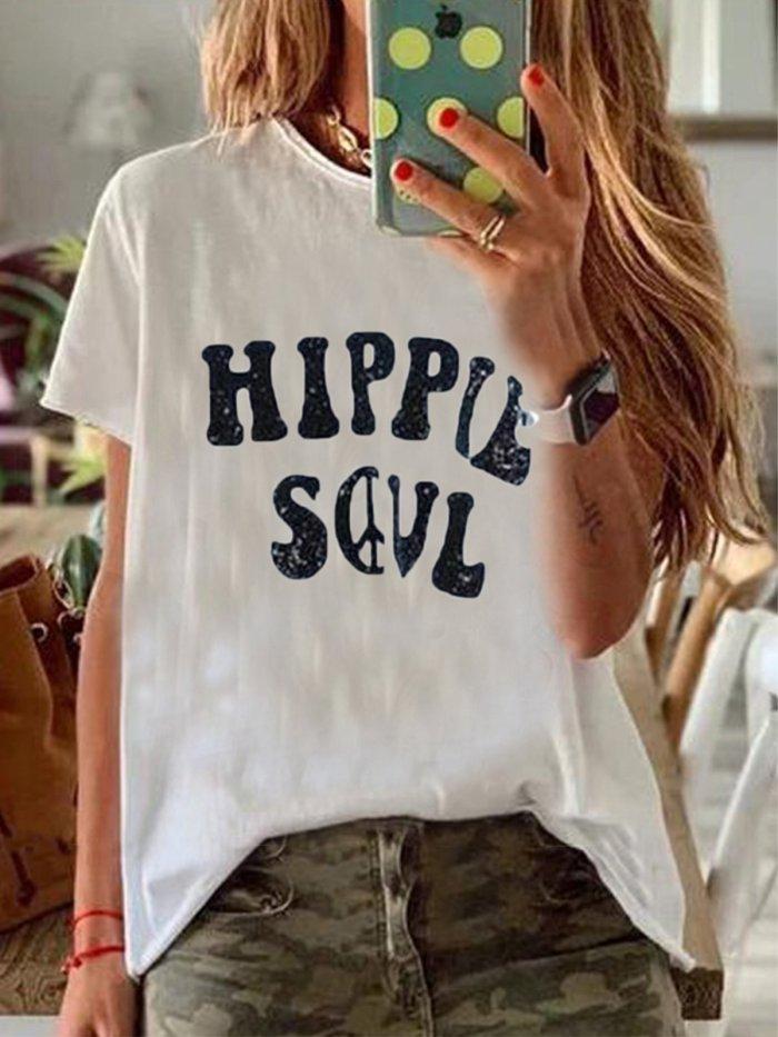 Short Sleeve Round Neck Cotton-Blend Shirts & Tops