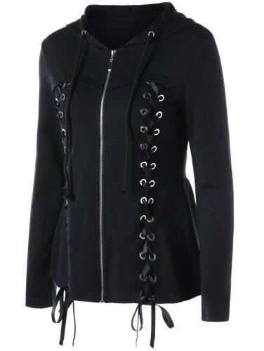 Criss-cross Lace Hoodie Vintage Cotton Appliqued Coat
