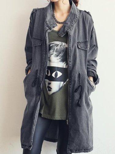 Denim Solid Long Sleeve Pockets Coat