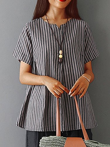 Plus  Size  Women  V-neck Short Sleeve  Striped Linen Loose Casual Top