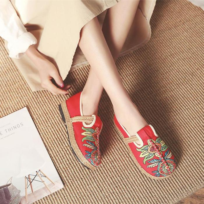 Women Flat Shoes Embroidered Flats Comfortable Slip On Lady Linen Casual Breathable  Loafers