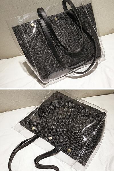 Women's Causal Snap PVC Woven Straw Tote Bag