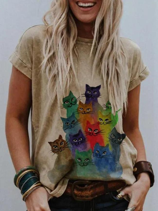 Khaki Short Sleeve Printed Shirts & Tops