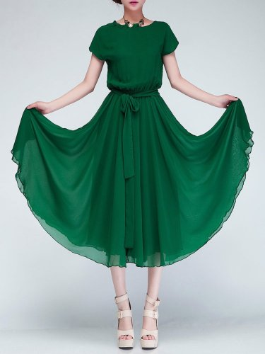Elegant Chiffon Short Sleeve Dress with Belt
