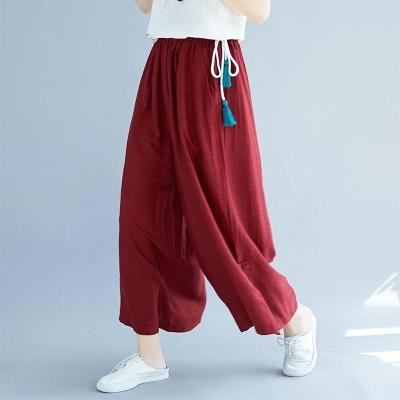 Spring Summer New Plus Size Women's Retro Loose Cotton and Linen Wide Leg Pants