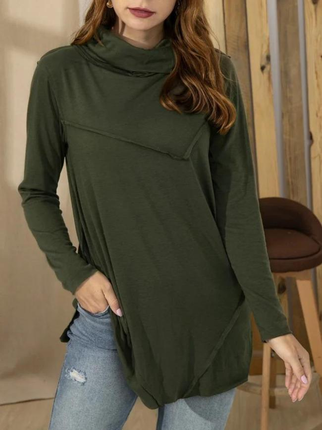 Solid Turtleneck Cotton-Blend Casual Shirts & Tops