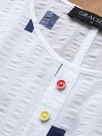 Short Sleeve Cotton-Blend Round Neck Sweet Shirts & Tops