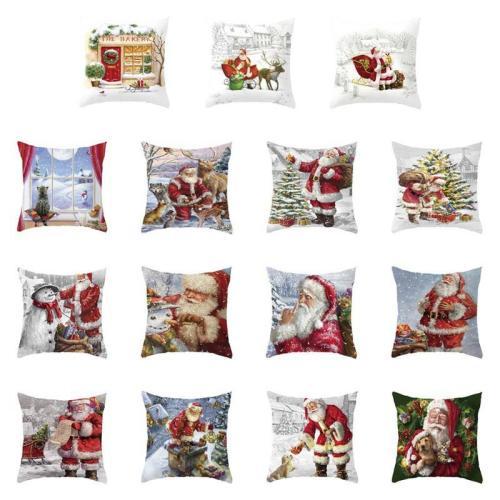 Christmas Pillow Case Deer Snowman Pattern Pillow Cover Cotton Linen