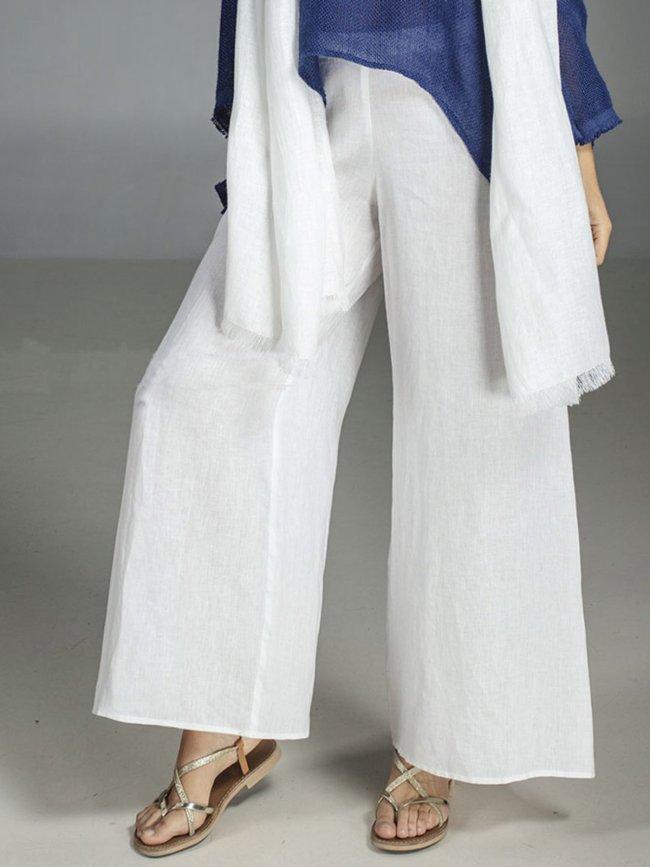 Plain Casual Linen Pants