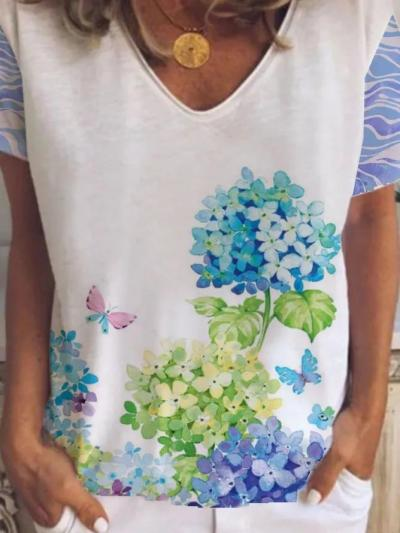 Plus size Casual Printed Floral Shirts & Tops