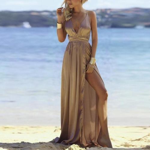 Fashion Sexy V Neck   Backless Evening Maxi Dresses