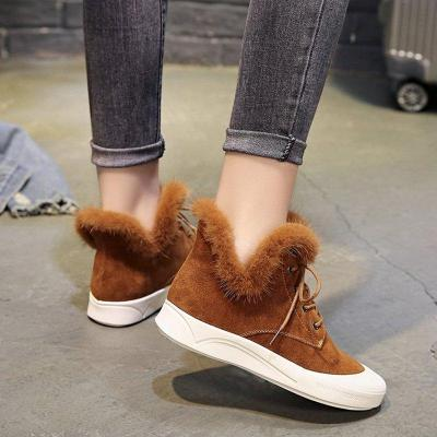 New Style Chelsea Boots Flocking Casual Lace-up Ankle Booties For Women