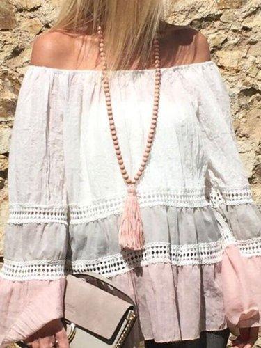 Off Shoulder Cotton-Blend Color-Block Balloon Sleeve Shirts & Tops